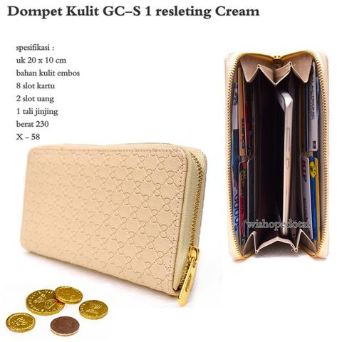 Dompet kulit GC-S 1 resleting Cream