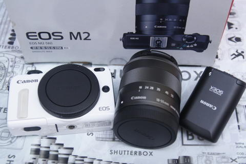 SHUTTERBOX - CANON EOS M2 kit plus flash like new