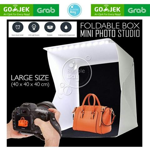 Large Photo Studio Box Folding Kotak Tempat Foto Portable with LED