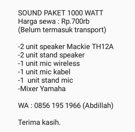 RENTAL SOUND PAKET 1000 WATT