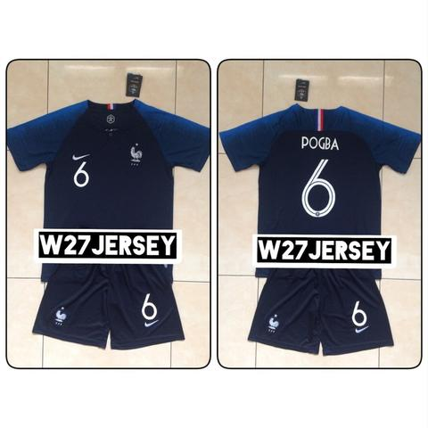 Jersey + Shorts France Home World Cup 2018 name player Pogba