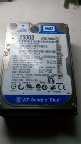 Harddisk Laptop Wdc 250gb