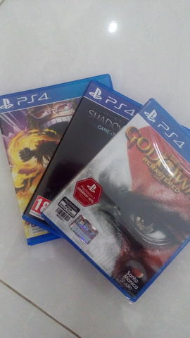 Jual game ps4 GOW 3 remaster, shadow of mordor, One piece pirate warrior 3