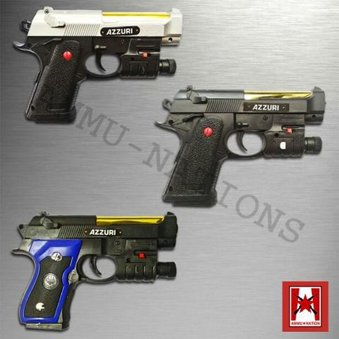 Berretta Cheetah Blue Gold With Laser Sight - Azzuri - Senjata Kokang - Airsoft