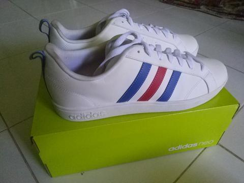 Adidas Neo Advantage clean white blue red stripes (France stripes) 100% Original