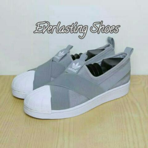 Sepatu Adidas Superstar Slip-on Slipon Abu Abu Gray Premium Quality Sneakers Import