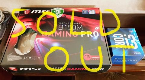 Sepaket Motherboard MSI B150M Gaming Pro + Intel Core i3 6100.. All Seken Like New..
