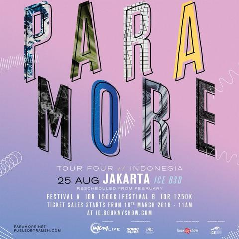 Tiket PARAMORE Tour Four Indonesia 2018 Festival A