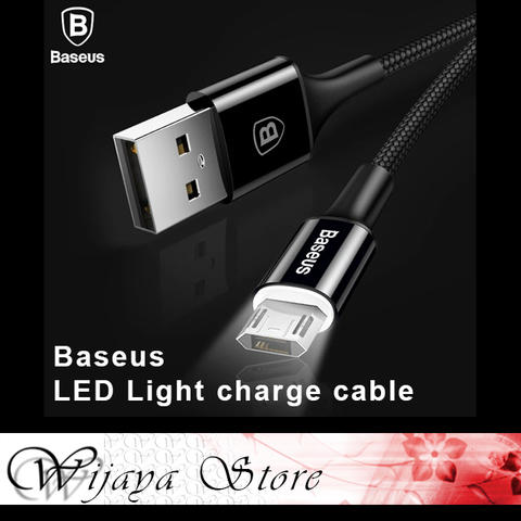 Baseus Micro USB Cable LED Lighting USB Charger Cable Data Reversible Charging Cable