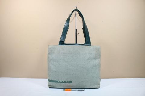 Tas wanita branded PRADA P182 Green canvas tote second original asli c43d53822c