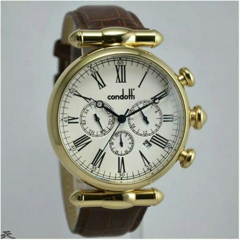 Jam Tangan Pria Condotti CN1028 Gold leather Kulit Original Murah
