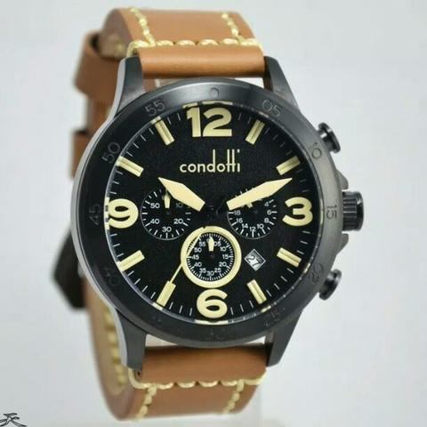 Jam Tangan Pria Condotti CN1022 Black leather Kulit Original Murah