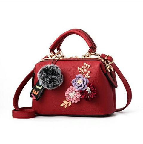 Doctor Bag Pom Pom Bunga Elegan-B0788