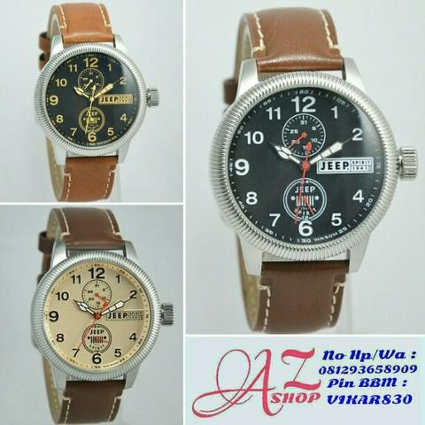 Jam Tangan Pria Jeep JPS50403 Silver Leather Kulit Original Murah