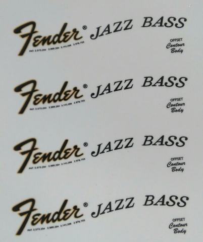 waterslide decal fender jazz bass 70's