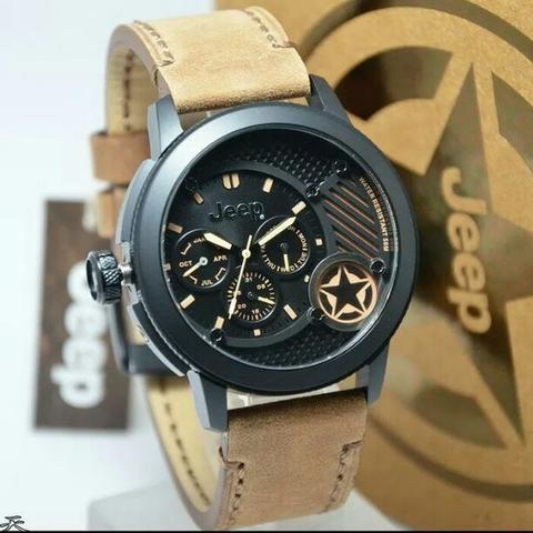 Jam Tangan Pria Jeep JPW61803 Black Leather Kulit Original Murah