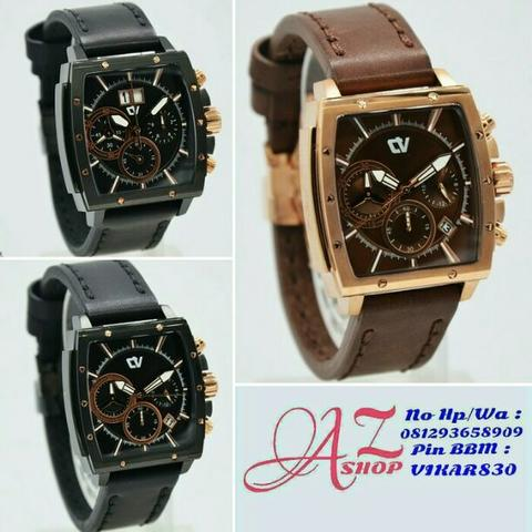 Jam Tangan Couple Christ Verra C70116G Black Leather Kulit Original Murah