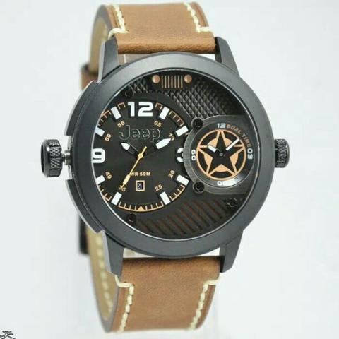 Jam Tangan Pria Jeep JPW62703 Dualtime Leather Kulit Original Murah
