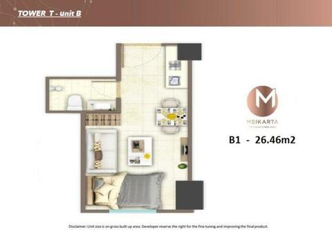 Jual Unit Studio Apartment Meikarta