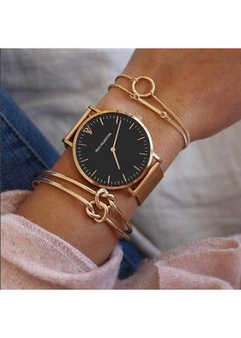 Ladies simple stainless steel rose gold watch