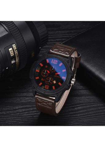Men's Fashion Casual&Business Three Eyes Leather Watch
