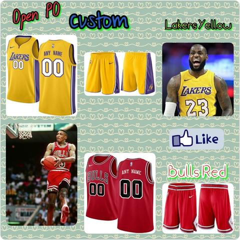 Open PO Jersey Basket Anak2/Dewasa Custom, Lakers Yellow & Bulls Red
