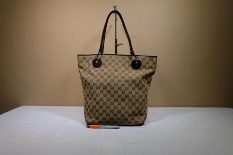 Tas wanita branded GUCCI GC563 Brown jacquard tote second original