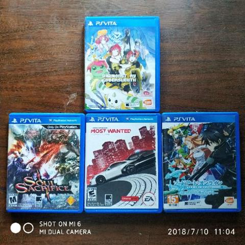 PS VITA Cartridge, Digimon, Most Wanted, SAO, Soul Sacriface