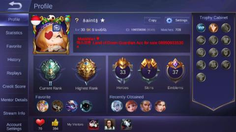Jual Akun MOBILE LEGEND Global Hylos 700+