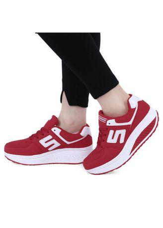 Casual Pure Color Lace Up Ladies Platform Sports Shoes