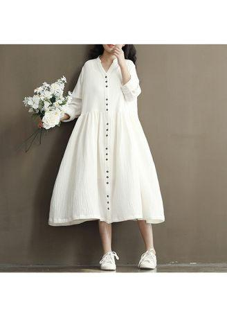 double-folded cotton and hemp dress