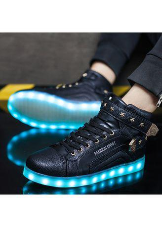 Fashion USB Charge Red kids Casual Luminous sneakers for children