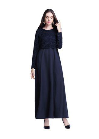 Islamic Ethnic lace Splicing Long Sleeve dress