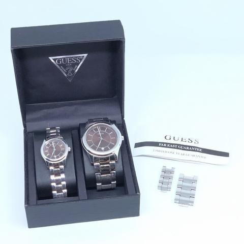 Jam Tangan Couple Guess Stainless Steel Original Second