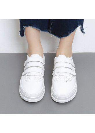 Lace Up Low Platform Loafers Flat Genuine Leather White Women Casual Shoes