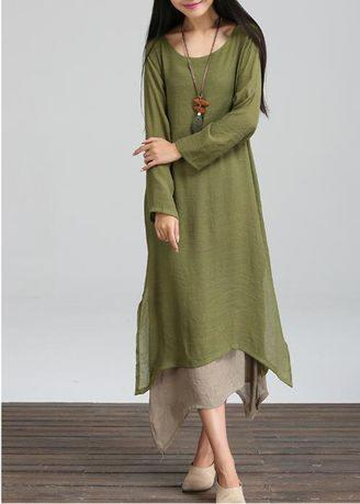 Long Sleeve Women's Linen Vintage Maxi Dress Plus Size Loose Dress