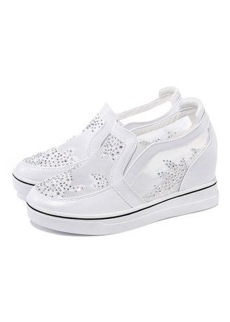 Moolecole Net yarn increase women's shoes flat white shoes