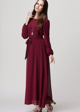 Muslim Elegant Long Sleeve Bigger Sizes Dress