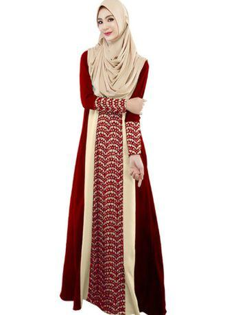 Muslims Arabia Robe Lace Splice Long Loose Dress