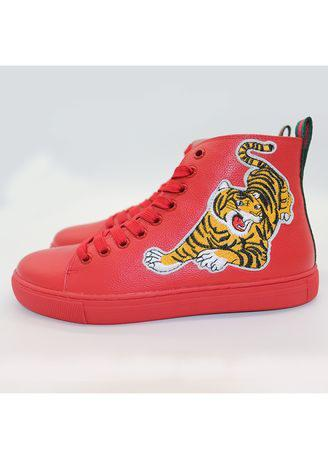 Real leather high help with tiger-embellished shoes