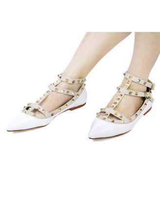 Sexy Ladies Rivet Design Patent Leather Pointed Toe Gladiator Flat Shoes