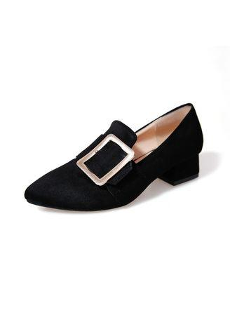 Square buckle women's shoes