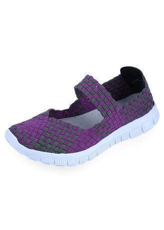Stylish Weave Color Block Ladies Breathable Flat Shoes