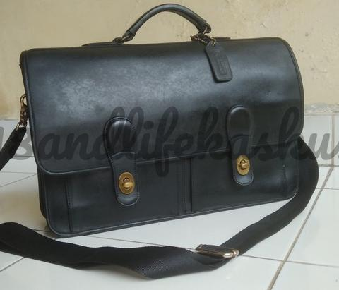 TAS KULIT BRIEFCASE MESSENGER BAG COACH BLACK LEATHER