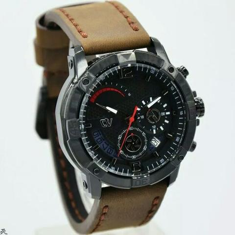 Jam Tangan Pria Christ Verra C67396G Black Leather Kulit Original Murah