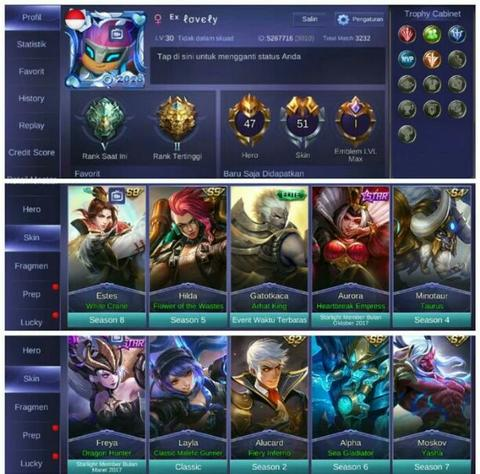 Akun ml mobile legend | Hero 47 skin 51 | 2 SL 2 Epic 5 Spesial