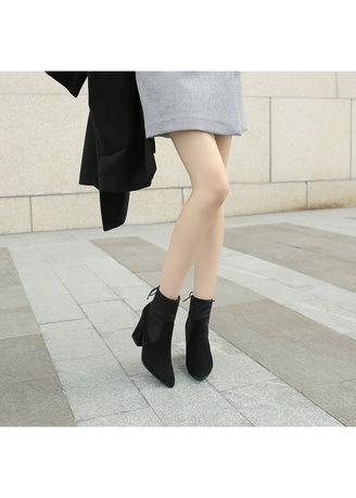 Women Autumn Winter Pure Color Short Sleeve Boots
