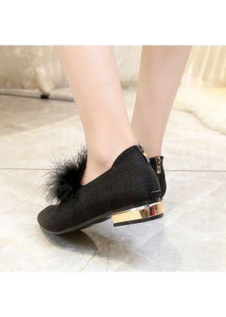 Women Romen Single Casual Sexy Holiday Beach Fur Flat Pointed Shoes Low Heel