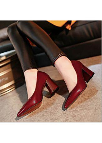 Women Spring Party Simple Pointed Shoe Thick High Heels