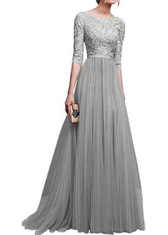 Women's Lace Vintage Wedding Evening Party Maxi Dress